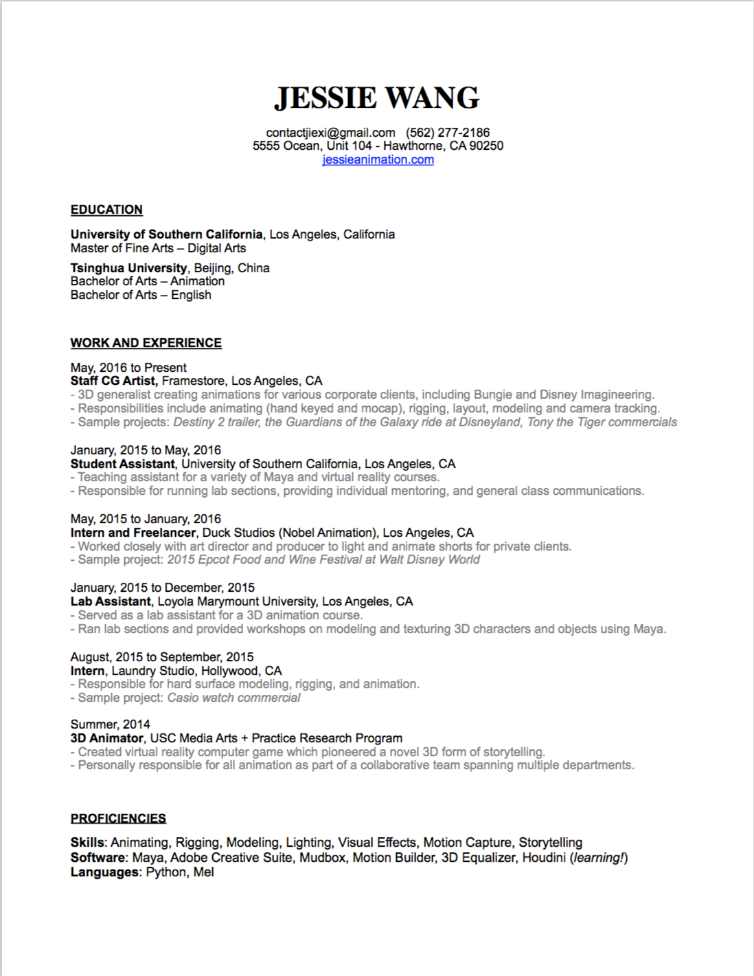 Resume - Jessie Wang